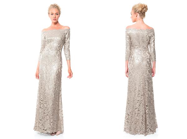 Серебряное платье от Tadashi Shoji: Pearl Encrusted Lace and Chiffon Gown in Snow