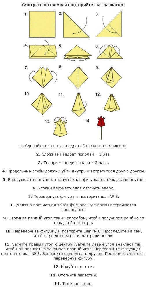 Тюльпан из бумаги к 8 Марта