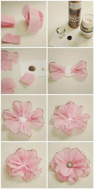 Бумажный цветок для украшения подарка