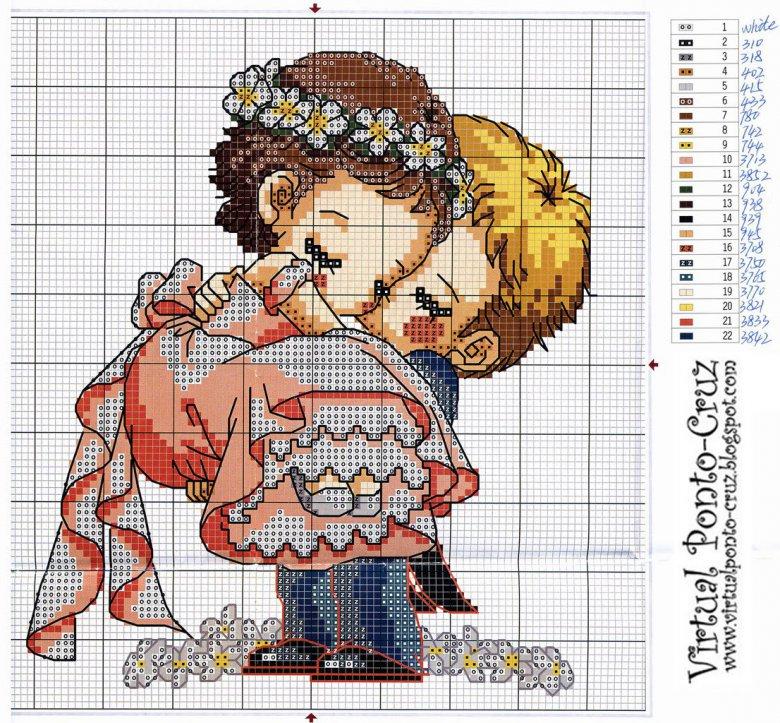 Схема вышивки крестом «Жених и невеста»