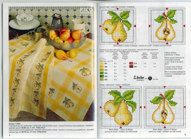 Схема вышивки крестом: «Кухонные мотивы: груша»