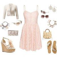 С чем носить розовое кружевное платье
