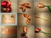 Розы из лент на 8 Марта