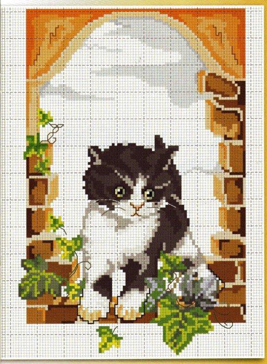 Простая схема для вышивки котика крестиком