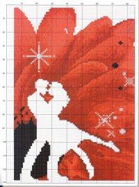 Романтичная схема для вышивки крестом