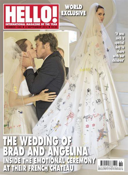 Свадебное платье Анджелины Джоли разрисовали ее дети