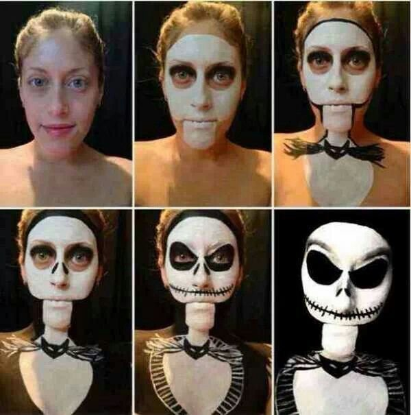Идея макияжа на Хэллоуин: Джек Скеллингтон