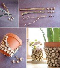 Простой и естественный декор цветочного горшка