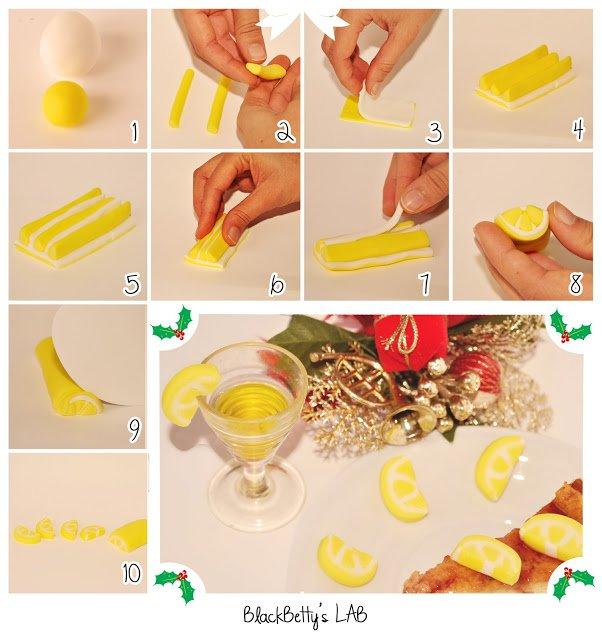 Лимонные дольки из мастики