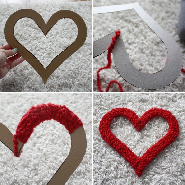 Сердце из ниток на День святого Валентина