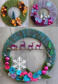 Рождественские венки из ниток