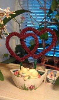 Топиарий «Сердце» из бисера на День святого Валентина