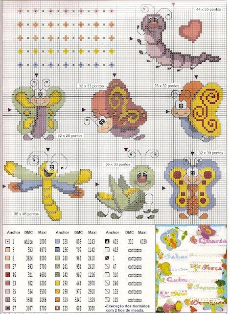Схема вышивки забавных бабочек