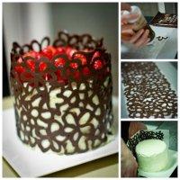Как украсить торт шоколадными цветами